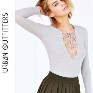 Urban Outfitters PST Ribbed Long Sleeve Tie Up Top